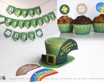 St Patrick's Day decorations, Mini Green top hat, Shamrock Green banner, cupcake wrappers flags for St patrick's party, lucky Irish, rainbow