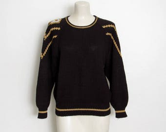 1980s Glam Sweater / Black & Gold Metallic Thread Knit Pullover / Sequin and Beaded Epaulet / Vintage 80s Adell Barre Sweater