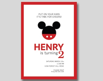 Mickey Mouse Birthday Invitation - Custom DIY Printable