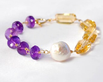 Color Block Citrine and Amethyst Bracelet. Gold And Purple Gemstone Bracelet (b0018ac)