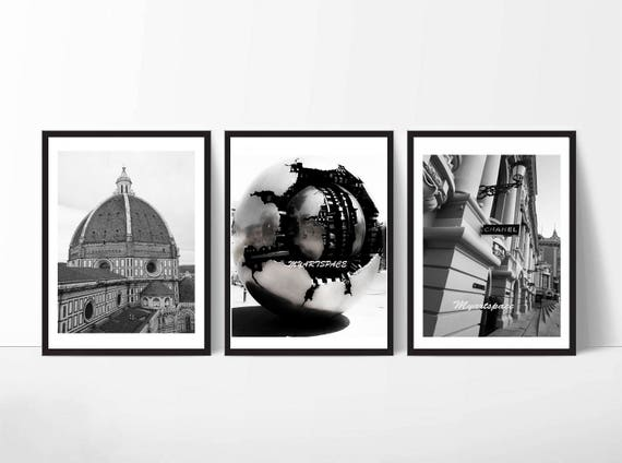 Set of 3 city prints gallery wall florence rome monaco