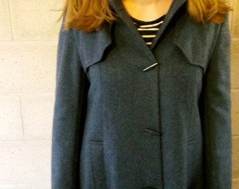 vintage ladies duffle coat, vintage toggle coat, long vintage coat, size 10 vintage coat, blue coat, wool coat, vintage clothes, ladies coat