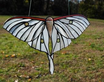 White Luna Moth Stained Glass Window Hanging Suncatcher Ghost Moth