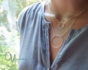 Silver Eternity Necklace, Circle Multi Strand Necklace, Circle Layering Necklace, Silver Double Strand Necklace Available in Silver or Gold