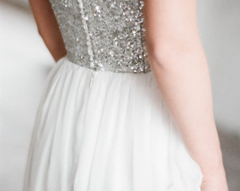 "Sample SALE - US2 Silver sequin wedding dress ""Zeya"" modern open corset wedding dress with chiffon skirt with moderate train"