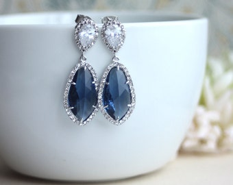 LUX Rhodium Plated Cubic Zirconia Navy Blue, Sapphire Blue Dark Blue Teardrop Earrings. 925 Ear Post. Bridal Wedding Jewelry. Something Blue
