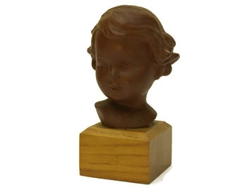 Antique Girl Portrait Bust Figurine. French Terracotta Statuette. Child Head Art Sculpture Nursery Decor.