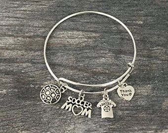 Soccer Mom Bracelet -Soccer Gift- Soccer Mom Bangle – Soccer Mom Gift - Soccer - Perfect Gift for Soccer Moms