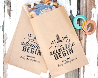 Personalized Baby Shower Favor Bags - Let the Adventure Begin - Boy or Girl - Trail Mix, Mountain, Camping Theme - 10 Kraft Bags