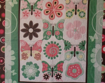 homemade quilt, baby girl quilt, baby quilt, crib quilt, nap quilt, toddler quilt, girl's quilt, pink and green quilt