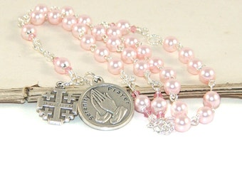 Christian Rosary Beads, Serenity Prayer Anglican Rosary, Pink Swarovski® Pearls, Jerusalem Cross