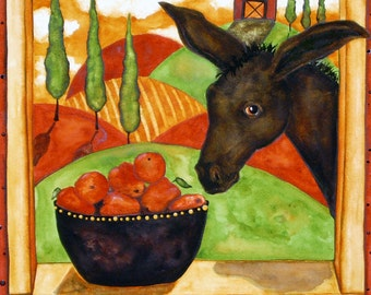Farmhouse Hubbs Art Folk Prints Farm Fruit Apples Donkey Italian Kitchen Burro Country