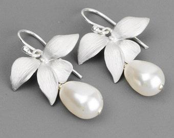 Pearl Bridal Earrings - Silver Flower Earrings - Swarovski Earrings - Pearl Wedding Earrings - Bridesmaids Earrings - Swarovski Jewelry