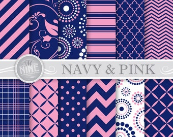 NAVY BLUE PINK Digital Paper: Navy Pink Printable Pattern Print, Navy Pink Download, 12 x 12 Navy Pink Backgrounds Scrapbook