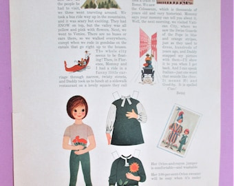 Vintage Betsy McCall Paper Dolls 1963 Magazine Ad Page Betsy Writes from Italy Paper Ephemera Art Collectible DIY Scrapbooking Craft Supply