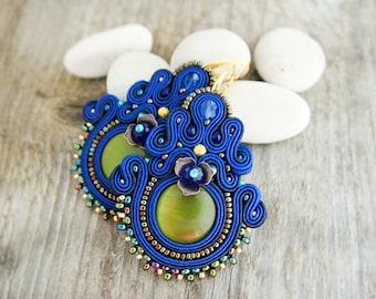 Blue dangle earrings, soutache earrings, large blue earrings, chandelier earrings, royal blue earrings, soutache embroidery