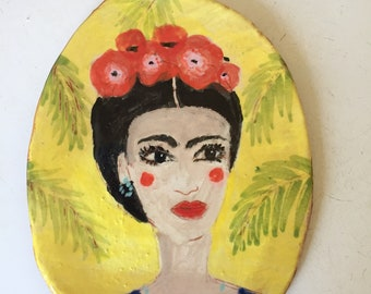 Ceramic Frida Kahlo inspired portrait frame