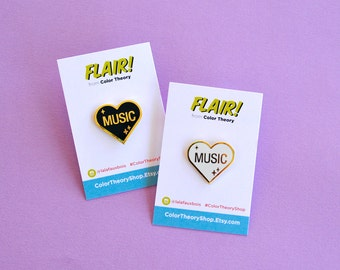 I Heart Music Hard Enamel Pin Musician Gifts Under 10 White Black