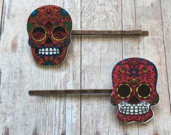 Red sugar skull bobby pins