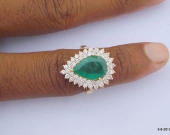 Gold Ring Diamond Ring Emerald Gemstone Ring Handmade Gold Ring