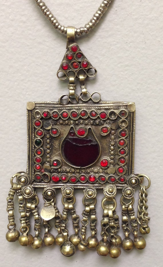 Pendant Middle Eastern Kuchi Silver Necklace Handmade Handcrafted Red Glass Silver Tribal Gift for Her Necklace Jewelry Home Decor Dowry