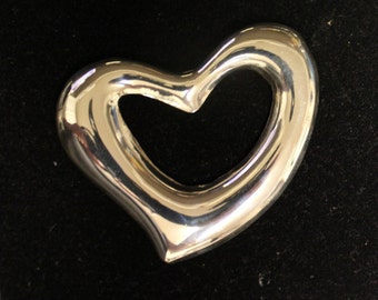 Large Sterling Silver Heart Pin/Brooch
