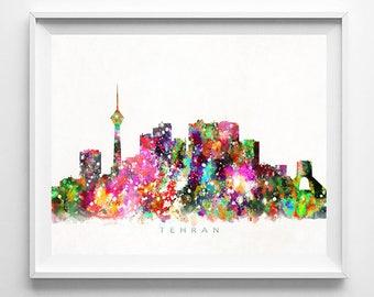 Tehran Skyline Print, Iran Print, Tehran Poster, Iran Cityscape, Watercolor Art, Home Decor, Giclee Art, Room Art, Fathers Day Gift