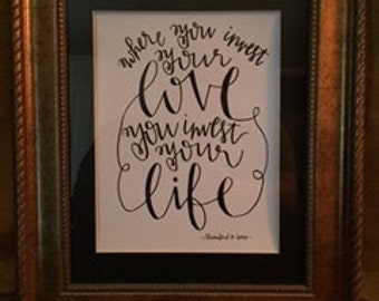 Hand-Lettered Mumford and Sons Awake My Soul Quote