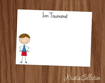 Boys Note Cards - Boys Personal Stationery Stationary Notecards - Boys Gifts - Stick Figure Flat Thank You Notes
