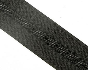 5C YKK Nylon Zipper Tape By The Yard Black Brown