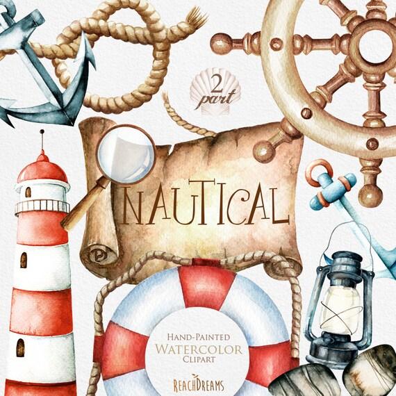 nautical watercolor clipart  marine  ocean  individual png