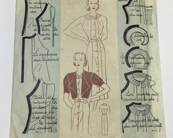 """Vintage French Sewing Pattern, """"Patrons Modèles"""" No. 046, 1920s-1930s, Beach Dress and Bolero, Size 44 (38-29.5-40.5 inches, 96-75-103cm)"""