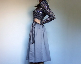 Grey Sequin Dress Vintage Long Sleeve Party Dress 80s Drop Waist Holiday Dress Women - Extra Small XXS XS