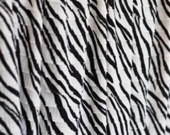 "Zebra Striped RUFFLE FABRIC 1"" Cascading Ruffles"