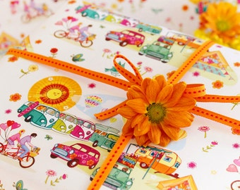 Single Sheet of Gift Wrapping Paper with tag -  Living The Dream - Caravan Paper - VW Campervan Paper - Camping - Cycling - Adventures