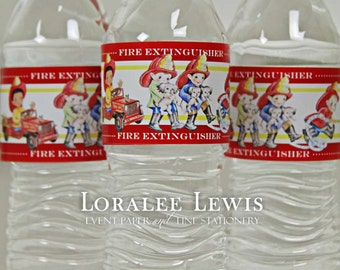 Fireman Water Bottle Labels by Loralee Lewis
