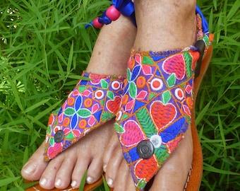 Boho  Leather Sandal Woman Sole/Base Pakashoes With Fancy Embroidery Triangular Switchable Free Shipping