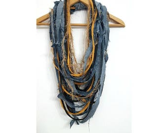 Mustard Denim Scarf Necklace Fabric Jewelry Textile Mustard & Denim Necklace Mustard Scarf Reused Recycled Jeans Fiber Necklace Summer Scarf