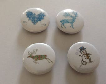 4 very pretty Christmas theme 25mm Magnets