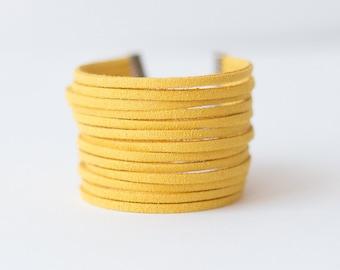 Suede Bracelet, Leather Bracelet, Yellow Mustard, Faux Suede Bracelet, Hipster Bracelet, Boho Bracelet, Ladies minimalist Bracelet
