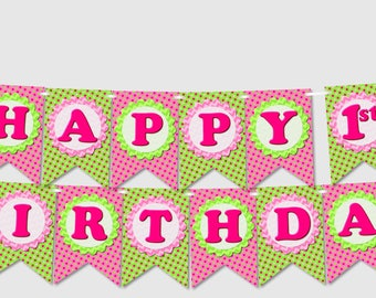 Turtle Baby Shower Decorations - Pink Banner 'HAPPY BIRTHDAY' - diy, printable, Instant Download