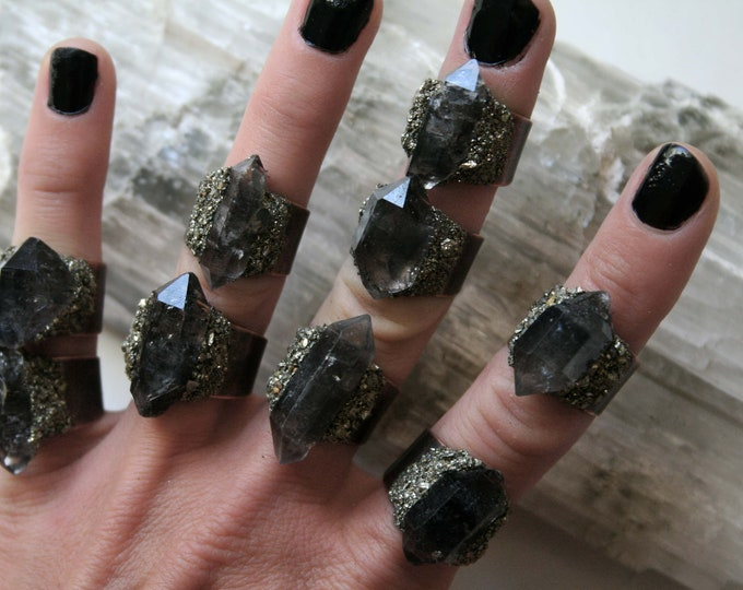 Tibetan Dark Smoky Quartz Crystal Ring - Extra Small Size Crystal // Double Terminated Smoky Crystal Adjustable Size Ring with Pyrite