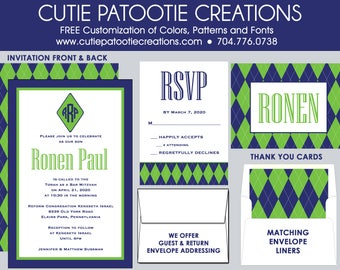 Preppy Argyle Bar Mitzvah Invitations, Bar Mitzvah Invitation, Envelope Addressing, Reply Card, Save the Date, Thank You Notes
