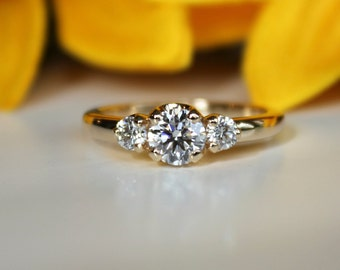 3 stone moissanite engagement ring, yellow gold 3 stone ring,