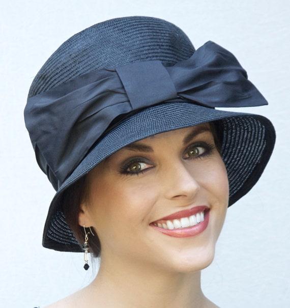 Formal Black Hat, Church Hat, Formal Hat, Wedding Hat, Cloche, funeral hat, Occasion Hat, Downton Abbey Hat
