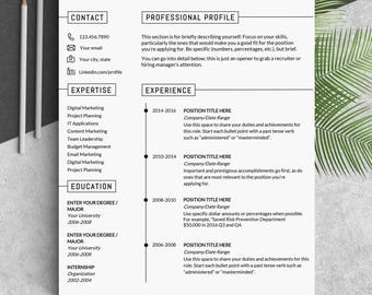 Resume template Modern resume templates Creative resume professional Cv Resume word template It resume template one page curriculum vitae