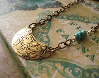 Floral Boho Necklace, Oxidized Brass, Hand Hammered, Genuine Turquoise, Etched Golden Chain, Golden Brass, candies64