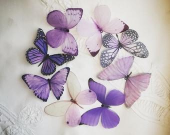 Purple silk butterflies to decorate a Wedding/Prom?Christening dress, hand cut with Swarovski Crystals.