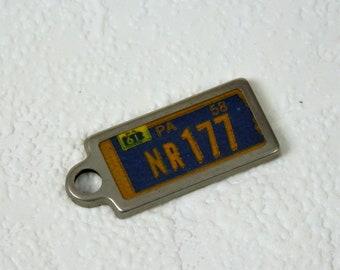 Miniature License Plate Key Chain, Vintage 1961 Pennsylvania License Tag Key Chain Fob, NR 177, Disabled American Veterans