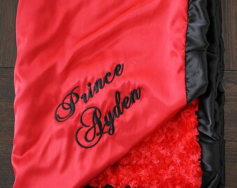 Baby Blanket, Blanket with name, Minky blanket, red blanket,red and black, Baby boy, Embroidered Blanket, personalized blanket, soft blanket